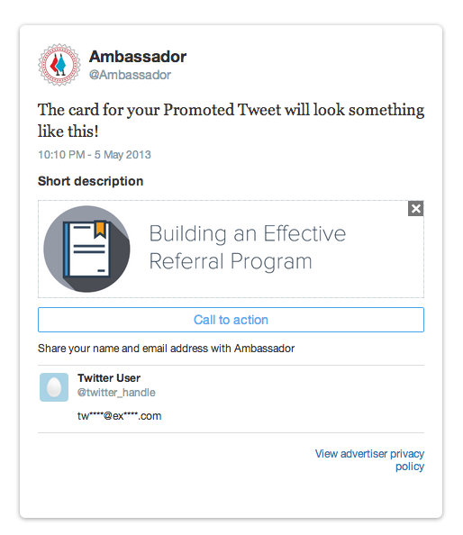An example of a twitter lead-gen card