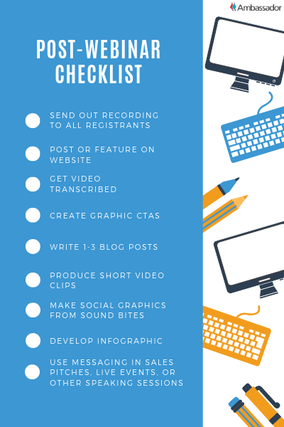 Ambassador Post Webinar Marketing Checklist