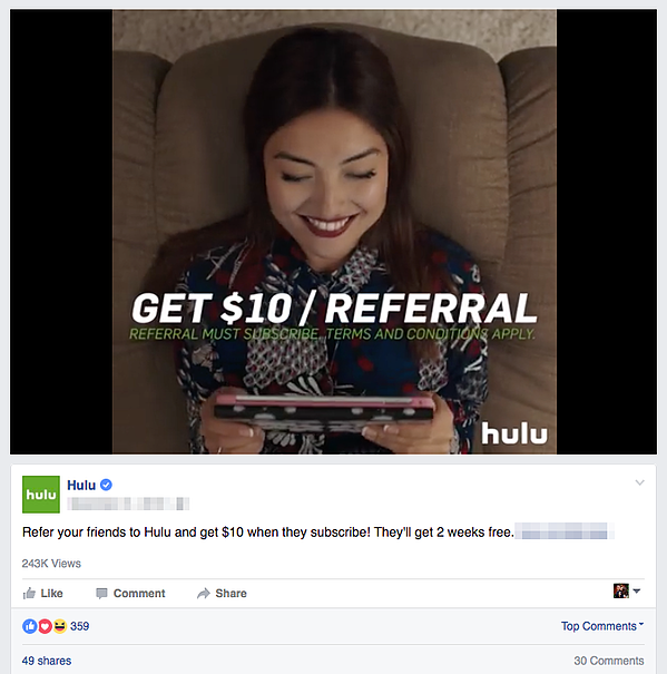 referral marketing examples hulu