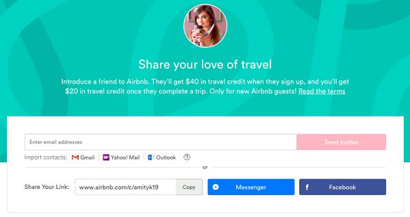referral marketing examples airbnb
