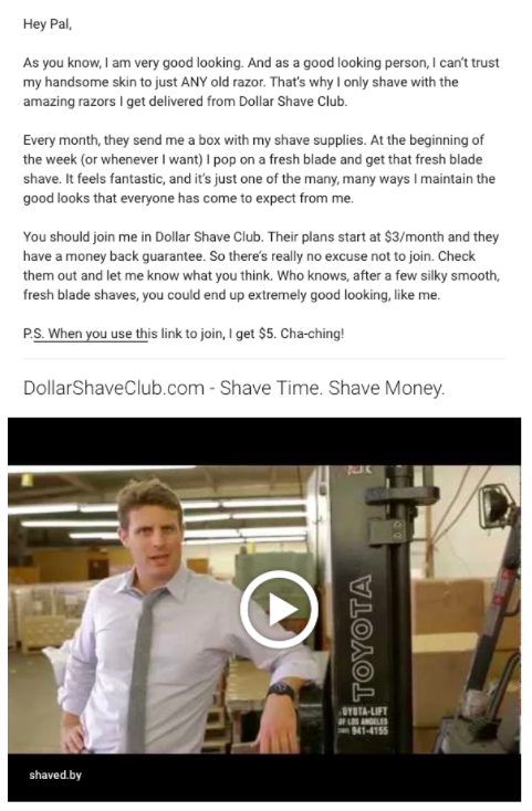 referral program examples dollar shave club